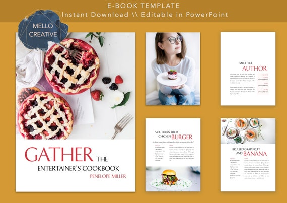 Modern Minimalist Powerpoint Ebook Template Recipe Etsy