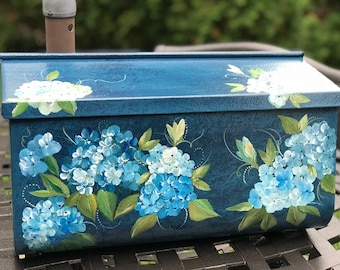 Painted Wall Mount Mailbox, Blue Hydrangeas Hand Painted Floral Mailboxes, Decorative Mailbox, Outside Art, Painted Gifts