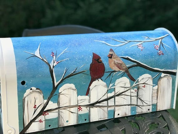 cadeaux original,artist custom gift flowers and birds home decor snowdrop,floral painting unique gifts Painted mailbox