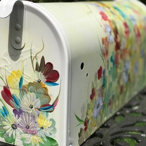 Painted Unique Gift Painted Mailbox With Birds Cardinals On Mailbox With Blue Jays Or Any 4 Birds On Each Side With Branches And Blossoms