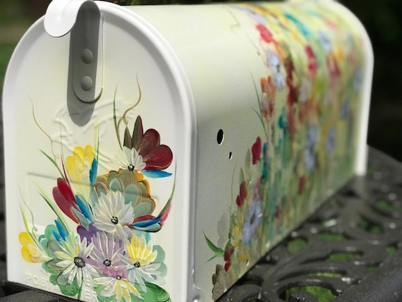 Painted Mailbox Wildflowers Painted Mailbox Hand Painted Etsy