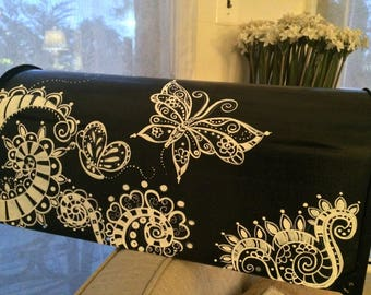 painted mailbox designs. Hand Painted Mailbox, Custom, Black And White, Whimsical Butterflies Swirls Mailbox Designs