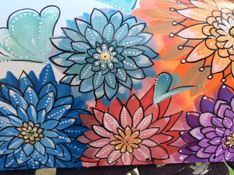 Hand Painted Mailbox Bohemian Style Floral Mailbox Bold Colorful Flowers Unique Design Artistic Mailboxes Creative Detail Mailbox Art