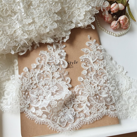 Waved Edge veil lace trim Sell By Yard Heavy Beaded alencon lace trim ivory bridal lace trim Fabulous Design and Quality