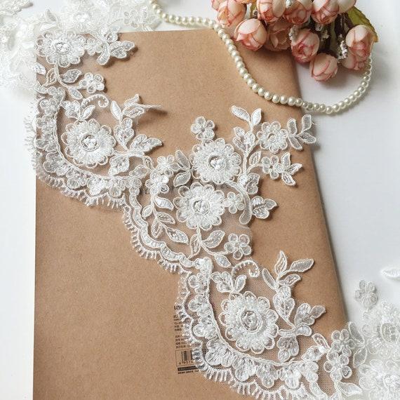 Sell By Yard Heavy Beaded Alencon Lace Trim Ivory Bridal Lace Etsy
