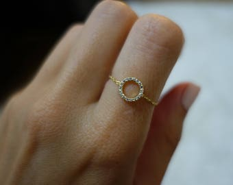 Circle Diamond ring 18k gold chain with 0.08ct stones gift friend mom woman sister