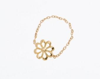 Flower chain ring 18k gold  - flower Daisy gift friend mom woman sister