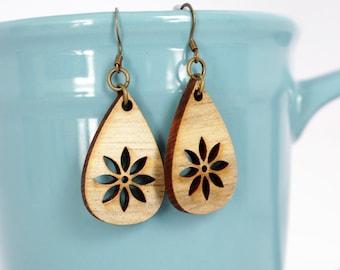 Earrings, Wood Earrings, Laser Cut Earrings, Acrylic Earrings, Spring Earrings, Handmade Earrings