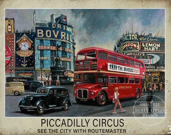 PICCADILLY CIRCUS  TRADITIONAL BRITISH PUB SIGN MAN SHED HOME BAR METAL SIGN
