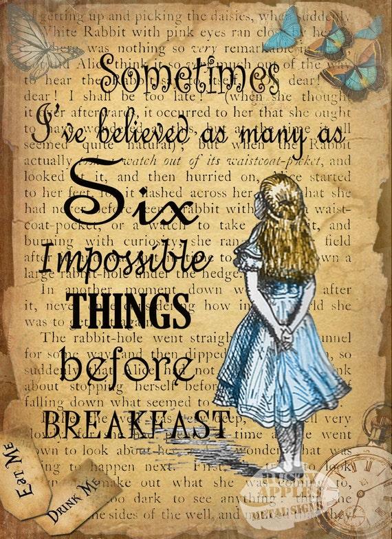 Alice Im Wunderland Sechs Unmögliche Dinge Zitat Vintage Retro Stil Metall Zeichen Home Decor 3 Größen Zur Auswahl