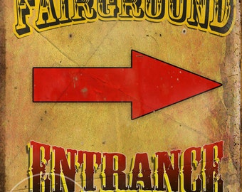 Fairground Entrance Vintage Retro Style Metal Sign Funfair Circus Carnival Choose Your Own Size