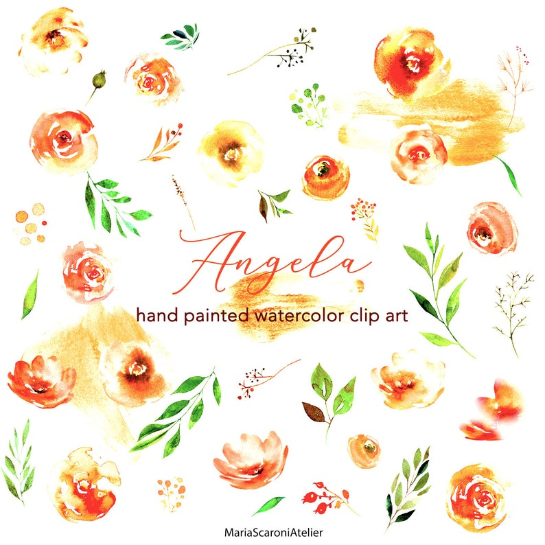 Clip Art Flower Graphics Watercolor Elements Pink Peach Flower Clipart Free Commercial Use Angela Summer Flower Png