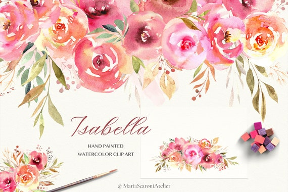 Pink Commercial Use Floral Clipart Watercolor Floral PNG Wedding Invitation Clipart Orange Flower Bouquets Watercolour Flower Clipart