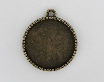 Pendant Charm holder round cabochon 20mm for double sided cabochon. Bronze metal. To personalize as you wish. Retro Vintage.