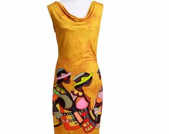 Dress - ochre yellow sleeveless dress with waterfall neck