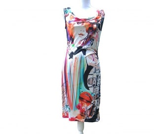 Dress - Red with waterfall neck