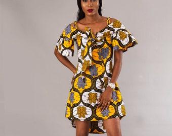 f29ed04178b Multi Color High Low Cold Shoulder Ankara Dress. Casadelamo  52.38