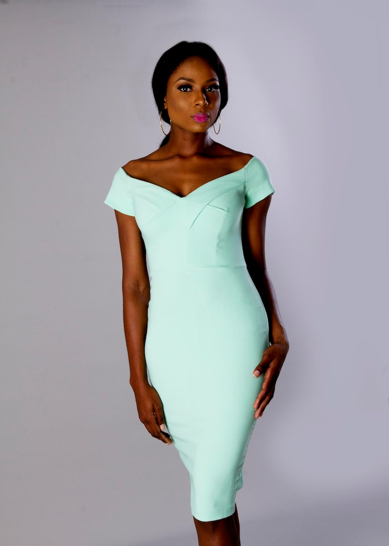 Mint Green Off Shoulder Midi Party Dress/Plus Size/Wholesale  Clothing/Custom Made Order/Clothing Sales