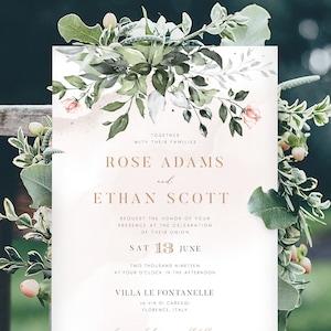 White Flower Greenery Wedding Invitation Template Set Printable Romantic Suite Instant Download Digital Editable DIY Invites Denise Templett