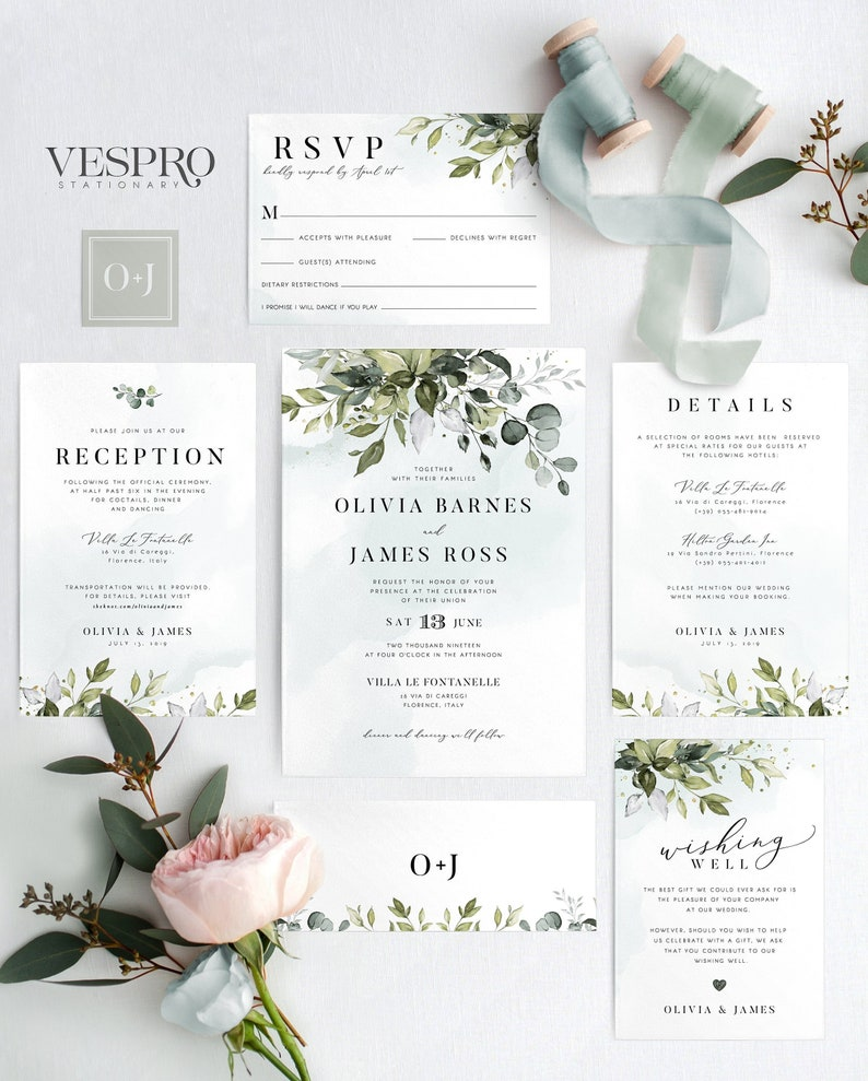 626343bf53051 Watercolor Boho Greenery Wedding Invitation Template Suite, Eucalyptus  Leaves • INSTANT DOWNLOAD • Editable Template, RSVP, Templett, 00001