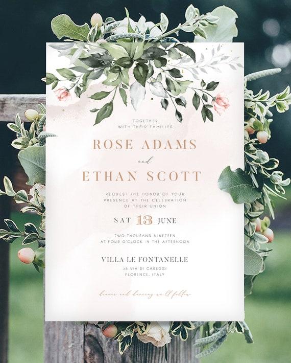 Boho Wedding Invitation Suite Greenery and Gold Blush Florals INSTANT DOWNLOAD Editable Text Wedding Monogram Templett DIY #043C
