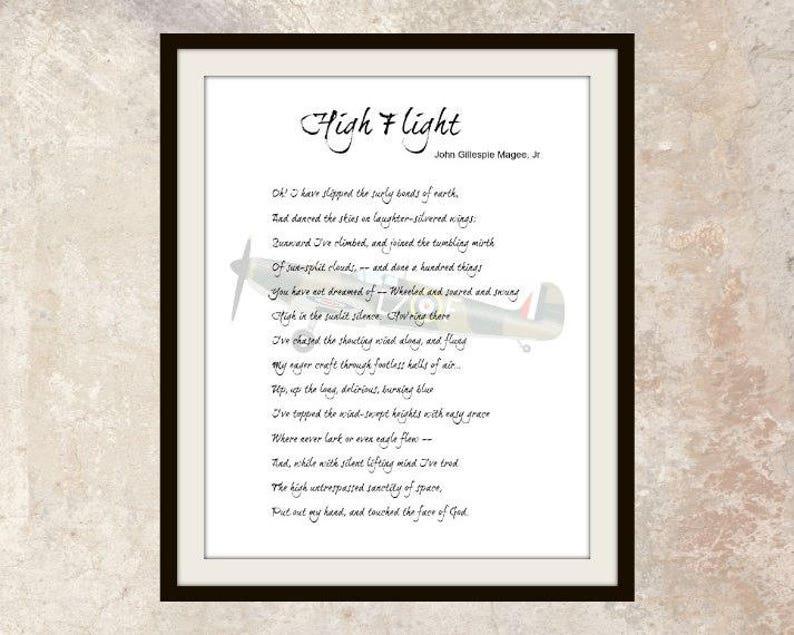 photograph regarding High Flight Poem Printable called Printable Poem \