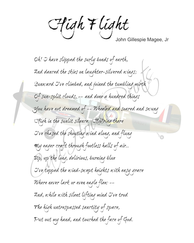Satisfactory image intended for high flight poem printable