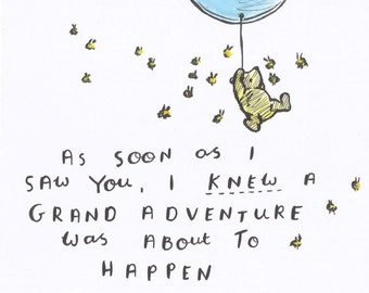 Winnie the Pooh, Grand Adventure, Quote INSTANT DIGITAL DOWNLOAD 8x8 inch