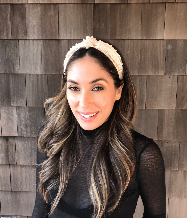 09d12f98d6a0c Ivory White Pearl Knot Satin Headband Crown, White Pearl Headband, Large  Ivory Turban Tie Knotted Headband, Races Headpiece