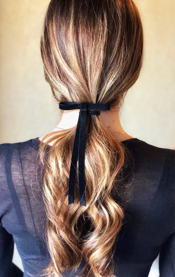 Small Black Velvet Hair Bow Barrette Velvet Hair Tie Ribbon  cfc2996a158
