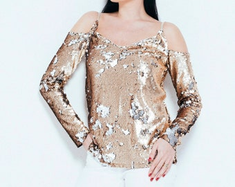 e8980ea9cd6 Sequin top Off shoulder top Gold glitter top Women's blouse Party blouse  Gold blouse Cold shoulder top for women New years eve outfit