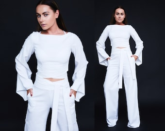 Womens Suit White Suit Skirt And Crop Top Party Suit Elegant Etsy
