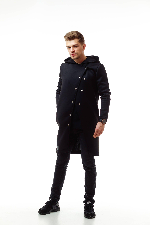 7bb96bb99 Urban mens long hoodie Black hooded jacket Mens cardigan Cozy | Etsy