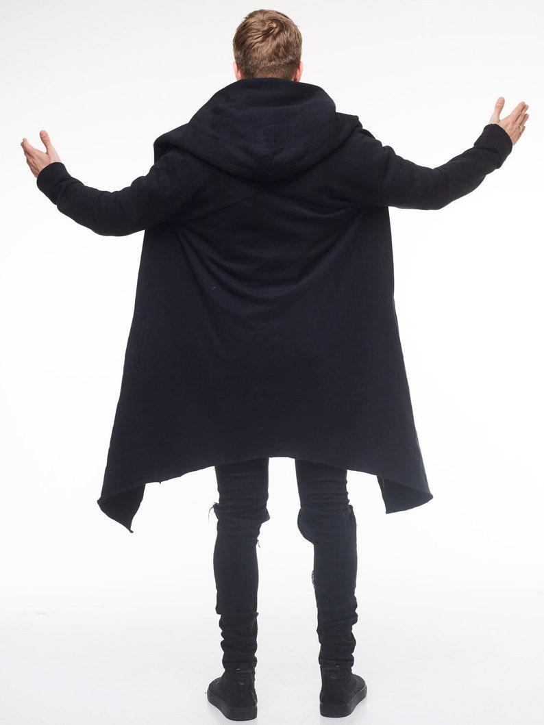 Mens oversize hooded jacket Long hoodie cardigan Black unisex long hoodie Casual jumper Loose festival hoodie for men Cozy warm jackets