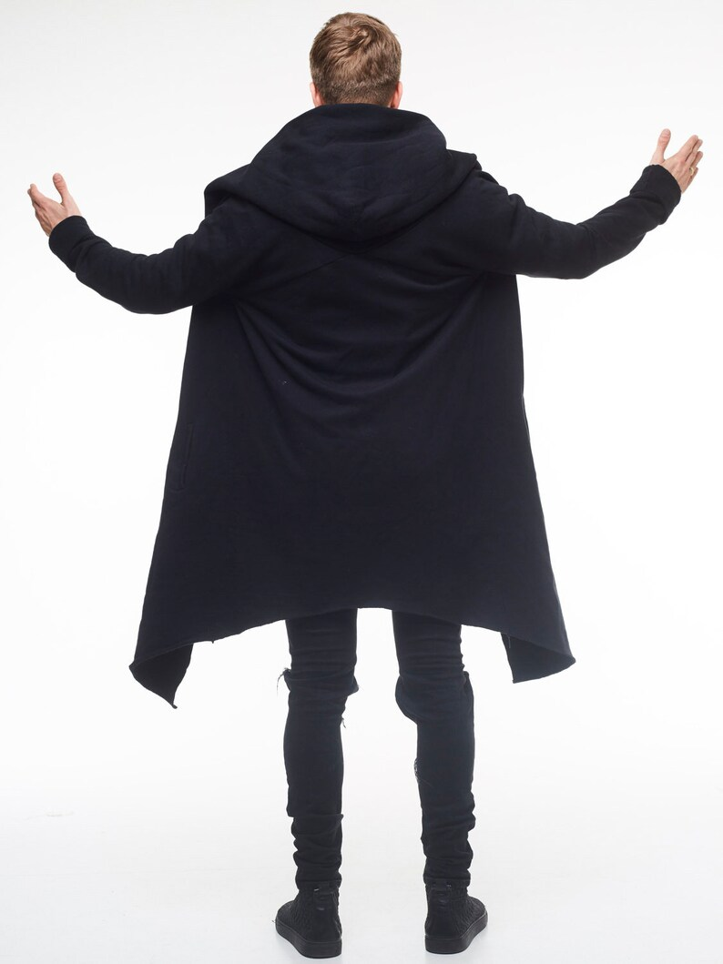 75d139521 Mens oversize hooded jacket Long hoodie cardigan Black unisex | Etsy