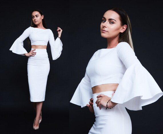 Womens suit White suit Skirt and crop top Party suit Elegant  86094c4c2