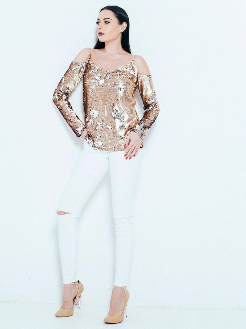 466ec0a17b3fb Sequin top Off shoulder top Gold glitter top Women s
