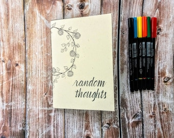 White notebook, illustrated notebook, notebook with aphorisms, flexible cover notebook, colored pages notebook, rainbow notebook,