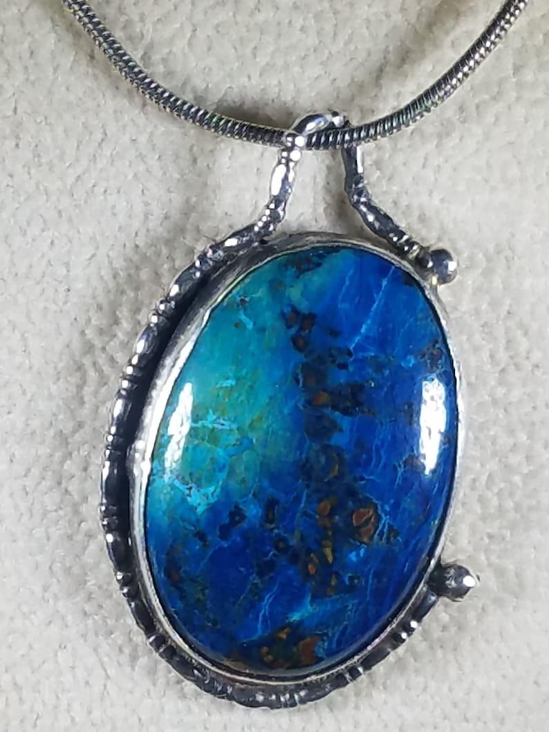 Blue Azurite set in Silver Pendant Spectacular neon blue color