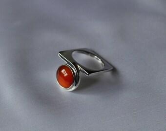 carnelian square ring