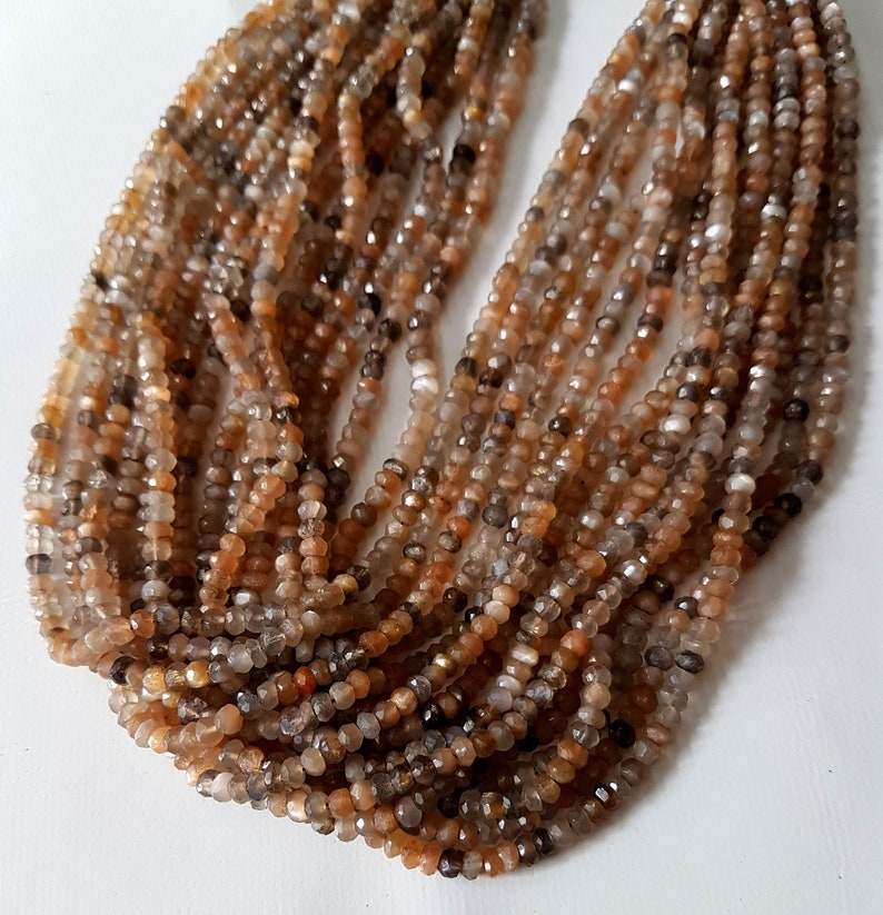 5 Strand Natural Multi Moonstone Faceted Rondelles shape beads Gemstone 3 mm to 4 mm Approx Size Beads 13 inch strand approx M No. 2854