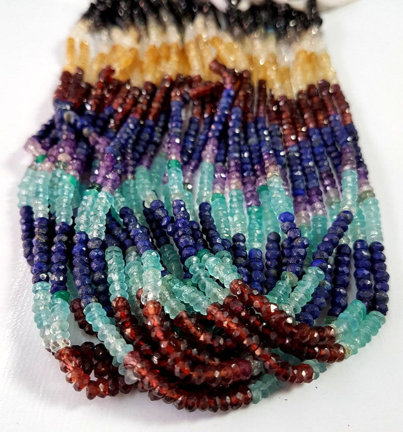 5 Strand Multi Stone faceted Rondelle shape beads Gemstone 3 mm Approx Size Rondelle beads 13 inch strand approx M No. 5496