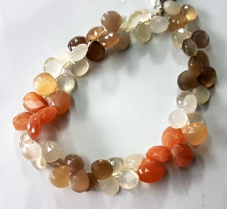 Flashy Genuine Rainbow Moonstone Bead Strand Rainbow Moonstone Faceted Heart Beads Moonstone Faceted Briolettes 8 Full Strand