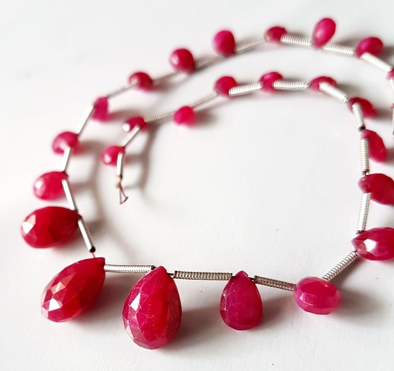 Ruby faceted  pear shape beads Gemstone  4x5 mm to  9x12 mm Approx Size pear beads 10 inch strand approx   M No 2739