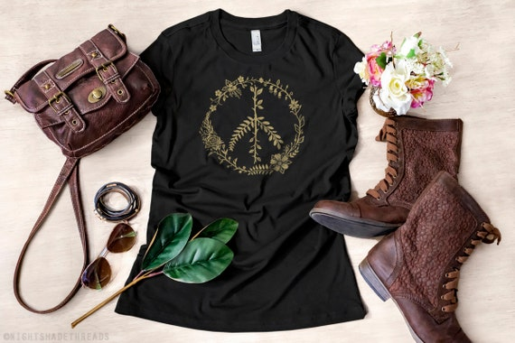 """PEACE SIGN White T Shirt Short Sleeve Top fit 18/"""" American Girl Doll"""