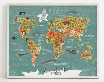 Navy blue map for kids Nautical nursery art Printable world | Etsy