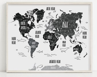 World map poster | Etsy