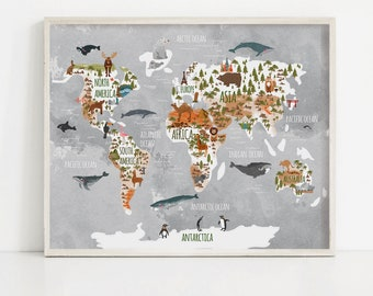 Kids world map etsy animal world map woodland nursery kids world map print watercolor map with animals gender neutral art large poster kid wall art gumiabroncs Gallery