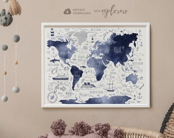 Navy blue map for kids, Nautical nursery art, Printable world map, Boys room wall art, Nautical boy gift, Globe poster, Watercolor world map