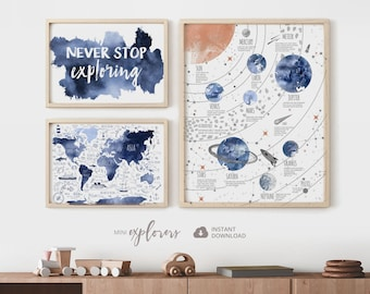 Boy nursery art set, Navy blue world map, Solar system, Baby boy 3 print set , Nautical nursery, Adventure posters, Never stop exploring